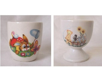 Rabbit Egg Cup and Teddy Egg Cup - Two Transferware Egg Cups c.1980