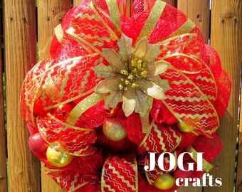 Christmas Wreath , Holiday Wreath , Reb and Gold Door Wreath, Deco Mesh Wreath , Christmas Balls , Affordable Christmas Wreath