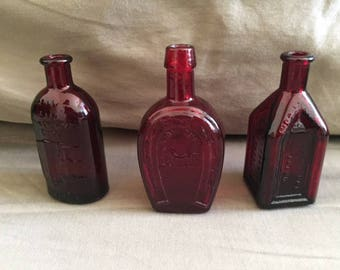 Vintage Set of Three Wheaton N.J. Ruby Red Glass Bottles