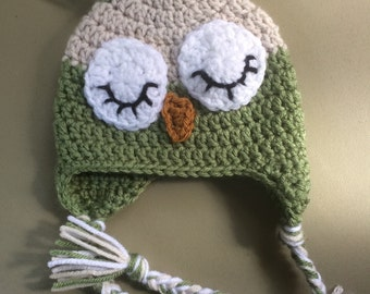 Sleepy Owl Hat, Crochet Kids Hat, Crochet Baby Photo Prop, Owl Ear Flap Hat, Boy Hat, Girl Hat, Hat For Kids, Green and Oatmeal Baby Hat,