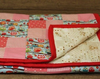 Patchwork Baby Blanket - Pink & Blue Check