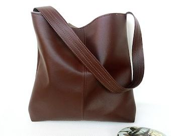 Chocolate Brown faux leather vegan vinyl shoulder crossbody hobo slouch bucket bag handbag
