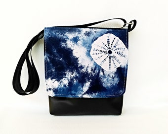 Blue Shibori fabric on black or brown messenger vegan faux leather cross body crossbody shoulder vinyl satchel bag handbag