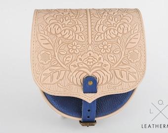 Leather bag, tooled leather, small crossbody bag, shoulder bag, small crossbody purse, embossed lether, mini purse, white and blue bag,