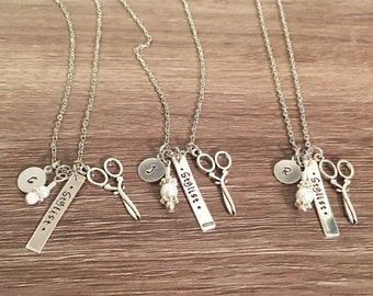 Stylist hand stamped pendant necklace / intial charm / salon gift / scissors charm / hair stylist / hair dresser gift / custom letter