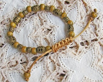 Wooden and Metal Beaded Bracelet with Shambala Sliding knot