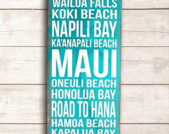 Beach Wall Art; Hawaiian Home Decor; Hawaii Wood Sign; Maui Wood Sign