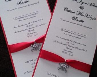 Diamante skull and crossbone gothic postcard wedding invitation