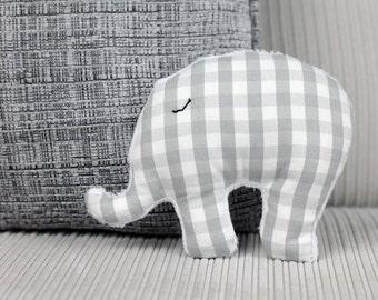 Grey gingham and minky fabric mini stuffed elephant toy / elephant nursery / soft toys / stuffed animals / stuffed toys / baby gift