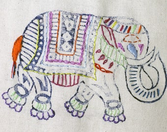 Rainbow elephant tote bag / canvas shopper bag / elephant gifts / tote bag cotton / gifts for mum / canvas bag / elephant gifts / birthday