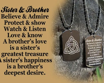 Sister & Brother Dog tag Necklace or Key Chain + FREE ENGRAVING
