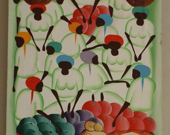 African Art canvas signed vintage / African painting signed vintage / vintage African Deco