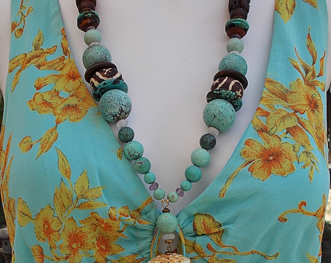 Vintage 90s Boho Chic Amethyst Chinese Turquoise Horn Molded Resin Carved Bone Bird Snake Handmade Bead Chunky Pendant Necklace