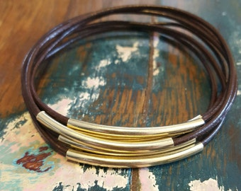 Brown Leather Cord Bangles with Gold Metal Tubes, Set of 6, Leather Bangles