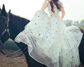 Jane Austen dress, Regency dress, summer, wedding, Festival, Maxi, white, lace, new, Gr. 38, new and never worn, size M