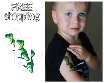 Set of 3 tatts «T-Rex». Cartoon style kids temporary tattoos with dinosaur. ROOOAR. Dino playdate and party bag supply. TT145