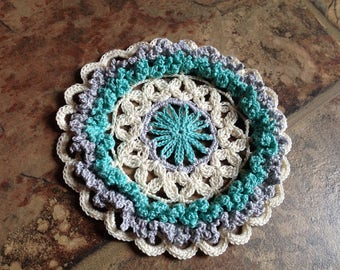 small ruffle doily, handmade crochet lace, home decor