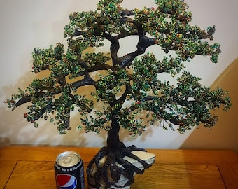 Wire and bead tree sculpture , tree of life, bonsai  tree. 50x45cm
