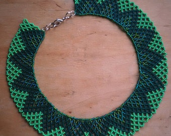 Green necklace Dark Green necklace Jewelry NECKLACE Bib necklace Beaded necklace Collar necklace Etnic necklace Folk necklace