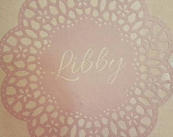 Wall art, name plaque, nursery decoration, baby nursery, baby name sign, lace, lace doily, doily, name doily, removable wall decal, decal