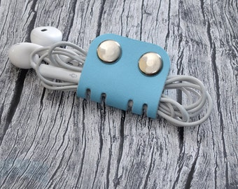 Blue Leather Headphone Holder // Leather Earphone Organizer - Cord Keeper - Cable Organizer - Earbud Holder - Leather Cord Holder