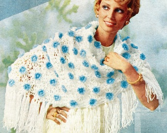 Vintage Flower Power Fringed Shawl Daisy Loom & Crochet Pattern PDF Instant Download