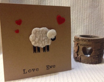 Valentines Day card ,love ewe , sheep card ,Valentine's card sheep, humerous Valentine's card , funny Valentine's card