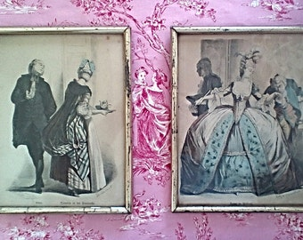 A Pair of Framed Antique French Costume Prints