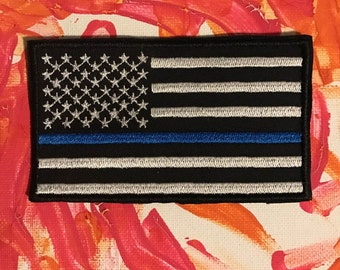 Thin blue line embroidered patch, police support patch, blue lives matter, police lives matter, american flag patch, cops patch