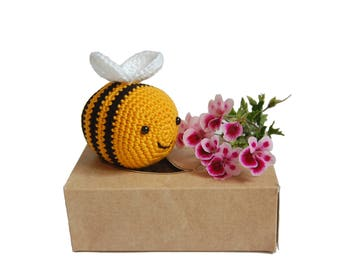 Crochet Bumble Bee - Crochet Amigurumi Toy, Crochet Baby Rattle, Crib Toy, Baby Gift, Shower Gift