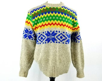 60s Abstract Geometric Sweater, Wool Fair Isle Sweater Mens, Multi Colored Hippie Crewneck Pullover, Oversized Grey Sweater, Vintage Large
