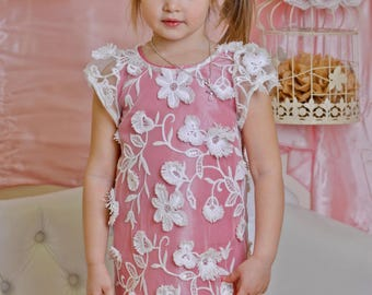Pink bridesmaid lace dress girl attending wedding guest dresses/ Tender dress for kids/ Children bridesmaid wear/ Wedding party flower dress