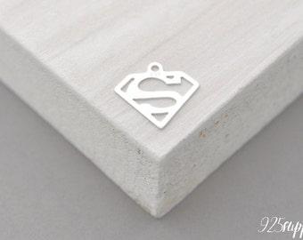 925 Sterling Silver superman, superman Charm, superman Pendant, Silver superman, superman, super man, super women, super women