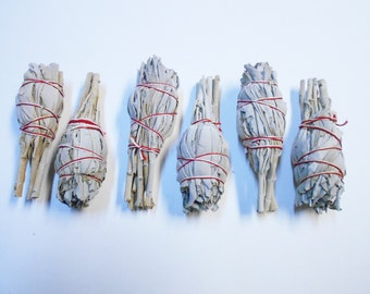 "Six (6) White Sage Smudge Sticks 4"" Cleansing Positive Energy"
