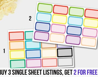 Rainbow half box stickers, Colorful Rectangle Half Box  Planner Stickers, Green Blue Red Half Box Stickers