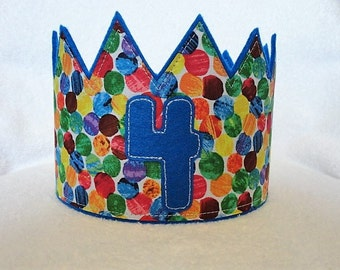 Birthday Crown, Felt Birthday Crown, Birthday Party Crown, Kids Birthday Hat, Birthday Party Hat, Adjustable party Crown, Caterpillar Crown