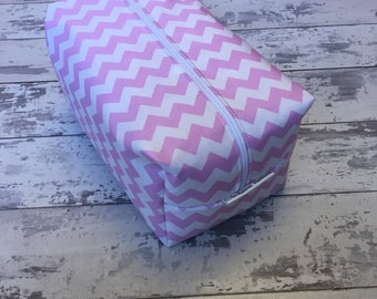Handmade Pink Chevron Zig-Zag Print Toiletry Bag