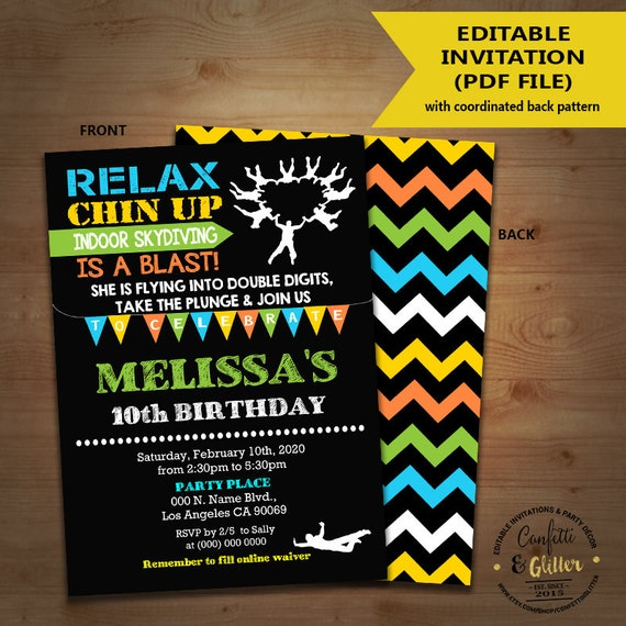 Skydiving birthday bash invitation indoor skydiving party skydiving birthday bash invitation indoor skydiving party chalkboard invite instant download you edit text and print yourself invite 5811 solutioingenieria Choice Image