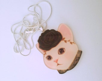 cat in a hat silver necklace