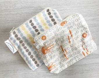 Organic Snack Bag Set - Sea Ocean Print - Zero Waste Lunch