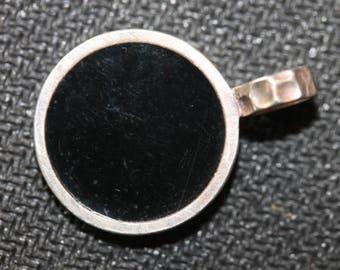 Vintage sterling silver black enamel enamel pendant