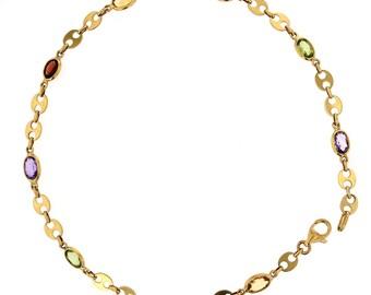 Anklet. 14KT Gold and Color stones Anklet