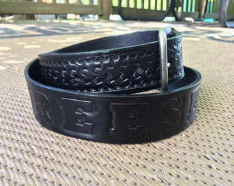 Handcrafted Leather Belt - Name/Initials and Basketweave Design