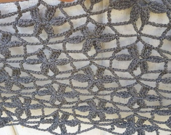 Lace Flower Crochet Shawlette Shawl Scarf - Made to order