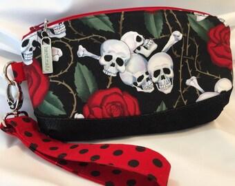 Skull and Roses Wristlet