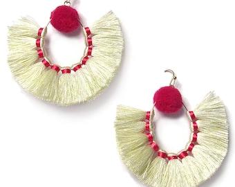 Stunning Cream Sandbar Fringe Statement Earrings