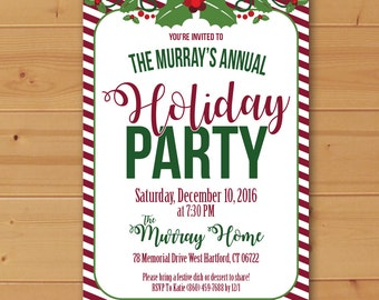 Holiday Party Invitation, Christmas Party Invitation, Eat Drink and Be Merry, Winter Party Invitation