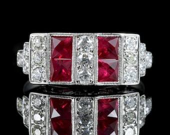 Art Deco Ruby Diamond Ring 18ct Gold 0.80ct Ruby 1.20ct Diamonds