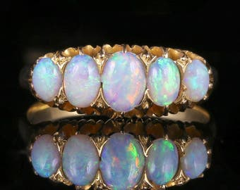 Antique Victorian Opal Ring 5 Stone 18ct Gold