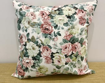 """Vintage 1980s Fabric Pink and Green Floral Cushion Cover Decorative Throw Pillow. 18"""" (45cm). Cushion covers Australia"""